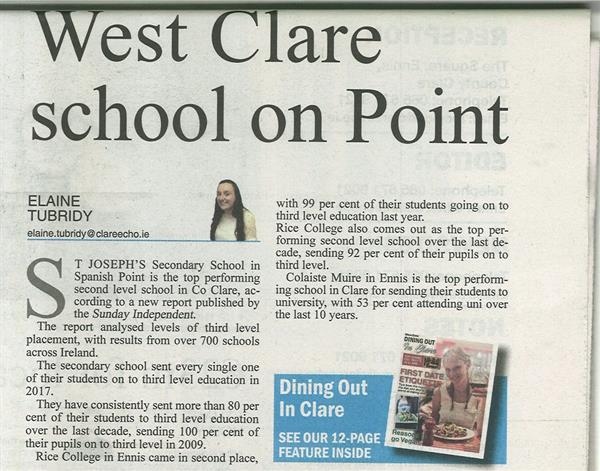 TOP PERFORMING SCHOOL IN CLARE