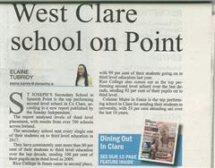TOP PERFORMING SCHOOL IN CLARE